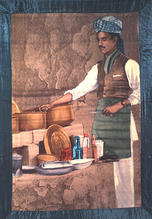 Joseph, the bawarchi. Giclee print on silk velvet with rayon velvet border
