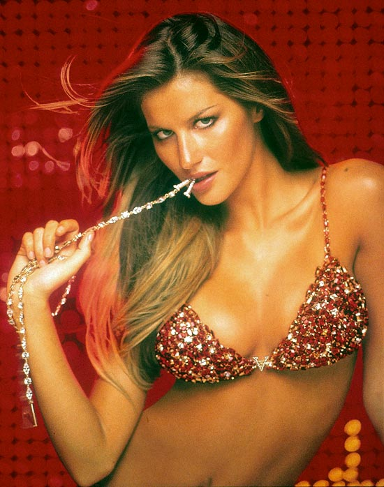 Gisele Bundchen in the Red Hot Fantasy Bra by Victoria's Secret