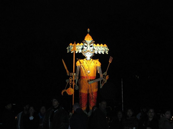 Effigy of Ravana ready to be burnt at a Dashehra Diwali Mela in Manchester, England