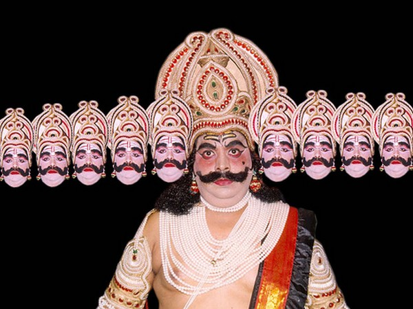 An actor playing out the role of Ravana in a production of Ramlila