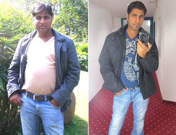 Raghu before and (right) after his weight loss
