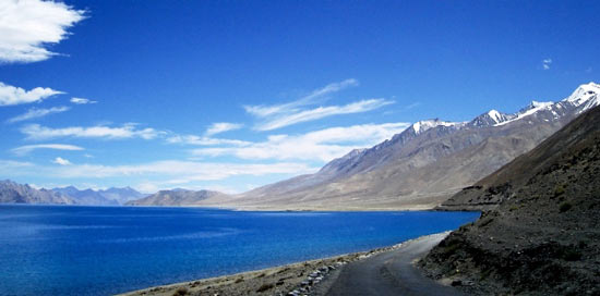 Saltwater lake Pangong Tso in Ladakh