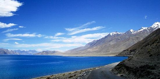 Saltwater lake Pangong Tso in Ladakh