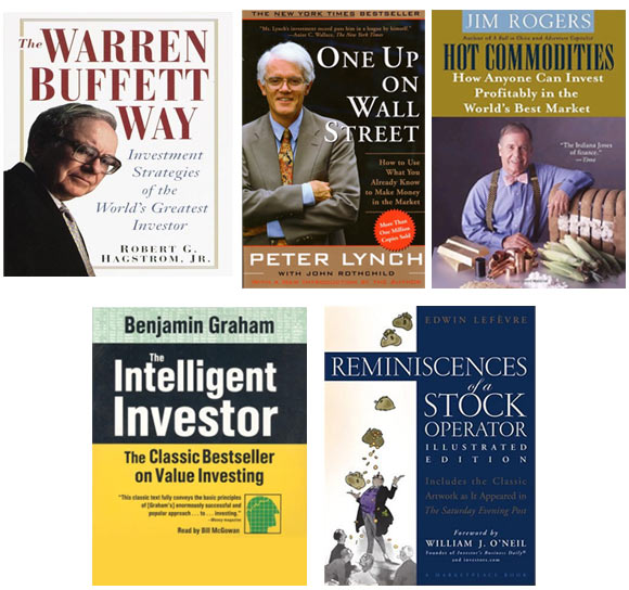 Book covers of top 5 books on investing for young investors