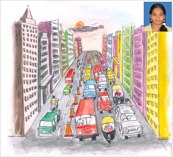 An artists's impression of S Charishma's (inset) solution to tackle traffic congestion.