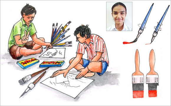 An artist's impression of the painting brush by Ektapreet Kaur (inset)
