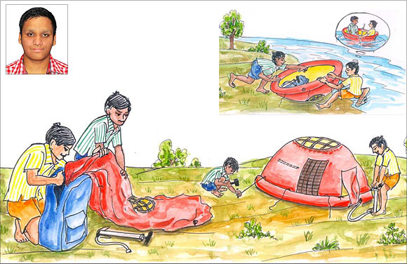 An artist's impression of Rishab Gupta's (inset) innovation