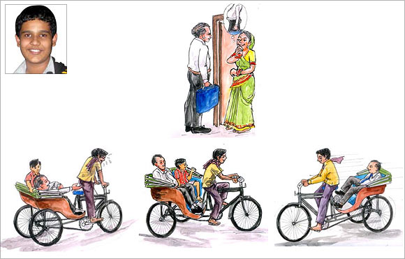 An artist's impression of the cycle rickshaw proposed by Arnab Chakraborty
