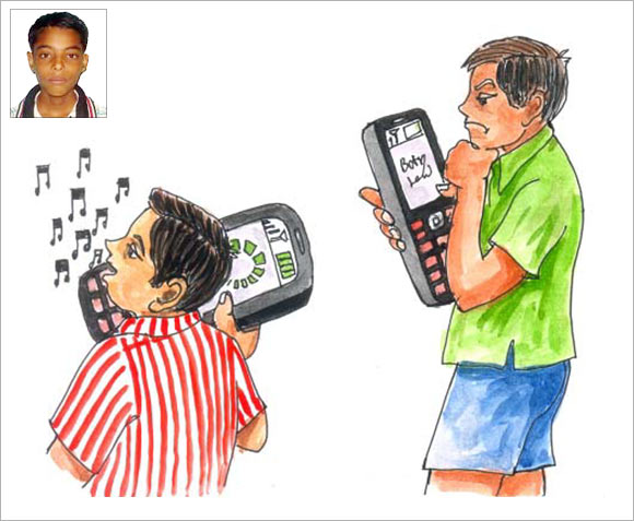 An artist's impression of how Gautam Kumar's (inset) mobile charging idea will function