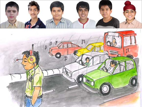 An artist's impression of the innovative headphone by (LtoR) Lakshya Kaura, Naman Jain, Manav Mitra, Utkarsh Hora, Amrit Dang and Sehaj Kataria
