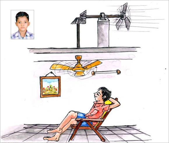 An artist's impression of Md Usman Hanif Patel's (inset) ceiling fan