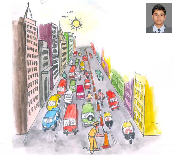 An artist's impression of Sidharth Pal's (inset) innovation