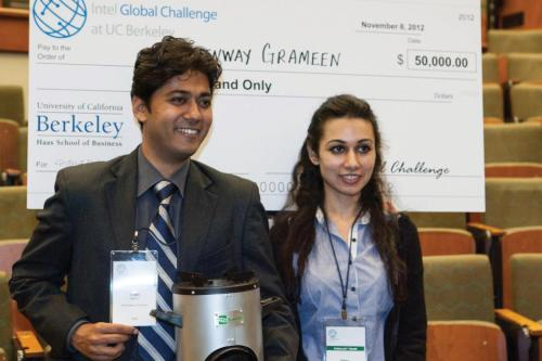Greenway Grameen Infra co-founders Neha Juneja, right, and Ankit Mathur at the Intel Global Challenge