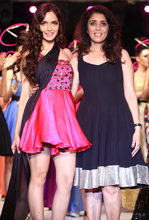 Shazahn Padamsee with designer Sushma Patel
