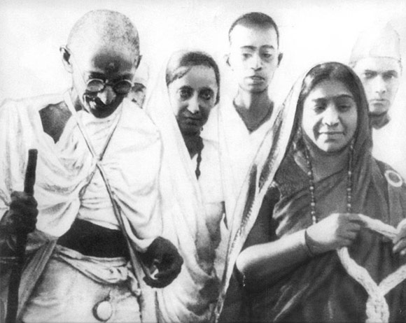 Mahatma Gandhi with Sarojini Naidu at the Salt March