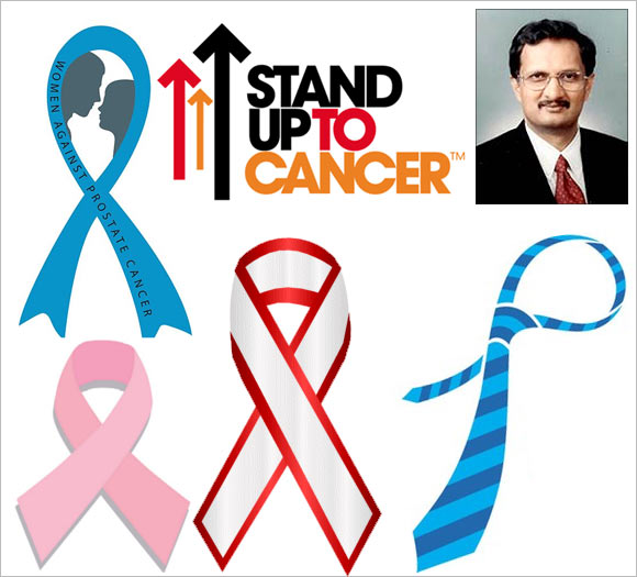 Logos of various organisations that support the fight against cancer and (Inset) Dr P K Jagannath