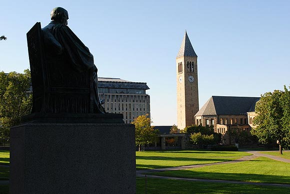 Arts Quad at Cornell University, with McGraw Tower in background