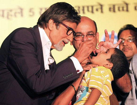 Amitabh Bachchan at the launch of a new polio eradication campaign in Mumbai