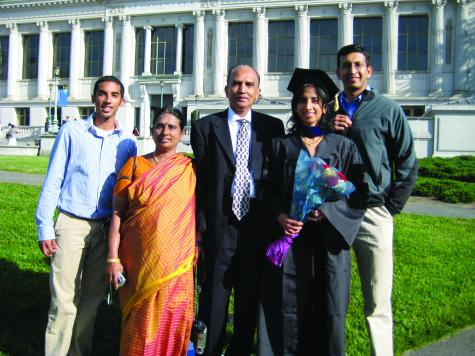 Sundari Chetty, second from right, with husband Raj, right, and her family