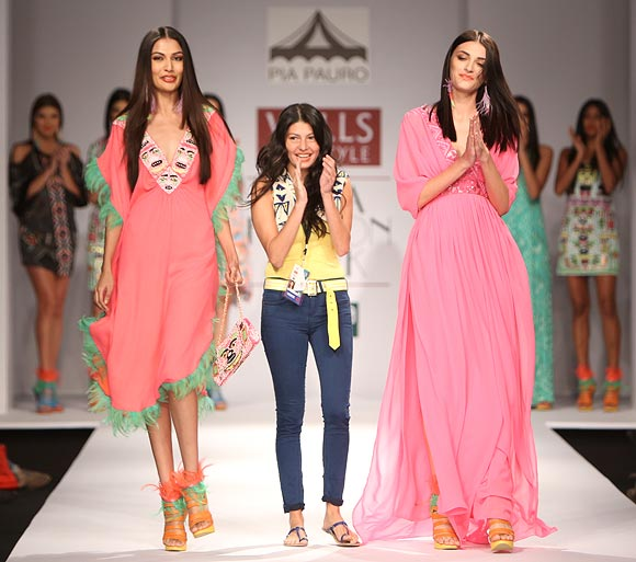 Pia Pauro's (centre) collection was floral and flirty.