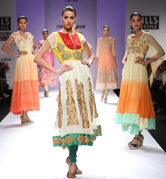 Silver embellishments and technicolour digital prints dominated Preeti's collection at the Fashion Week