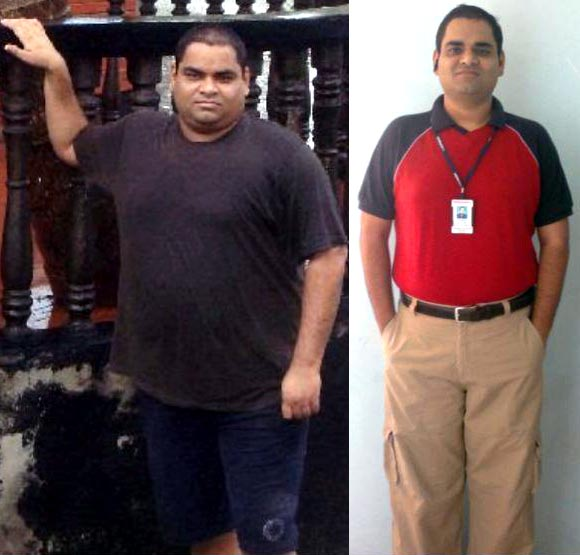 Neeraj Dubey before and (right) after his weight loss