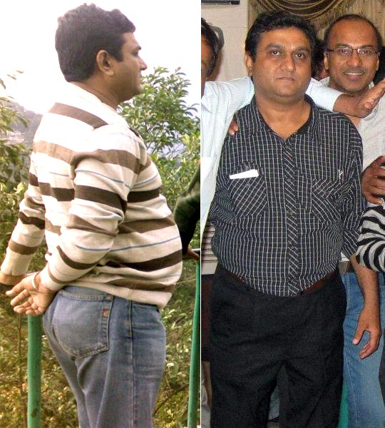 Rajeev Kulshrestha before he lost weight and (right) after