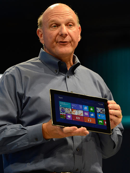 Microsoft CEO Steve Ballmer shows the new tablet called Surface during a news conference at Milk Studios on June 18, 2012 in Los Angeles, California. The new Surface tablet utilises a 10.6-inch screen with a cover that contains a full multitouch keyboard.