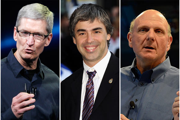 From Left: Apple CEO Tim Cook; Google CEO Larry Page; Microsoft CEO Steve Ballmer