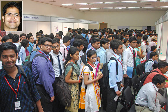 Students participate in the Globsyn Corporate College Connect, the largest career event in the East; Inset: Rahul Dasgupta