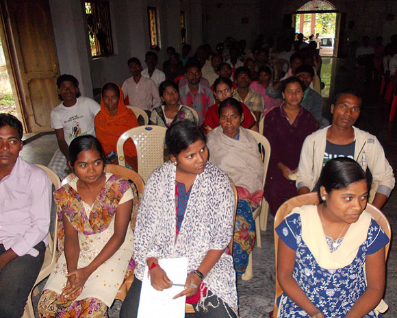 Youngsters attend a rural training programme in Bhubaneshwar, Orissa
