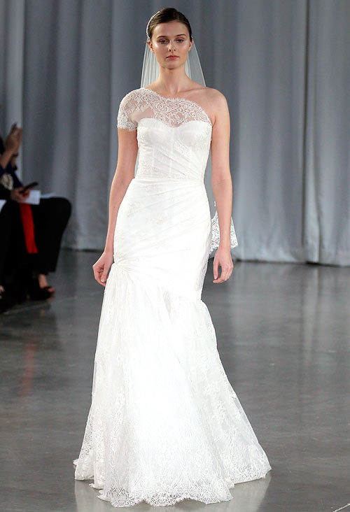 A Monique Lhuillier creation, showcased at the Monique Lhuillier 2013 Bridal Collection show on October 13, 2012 in New York City