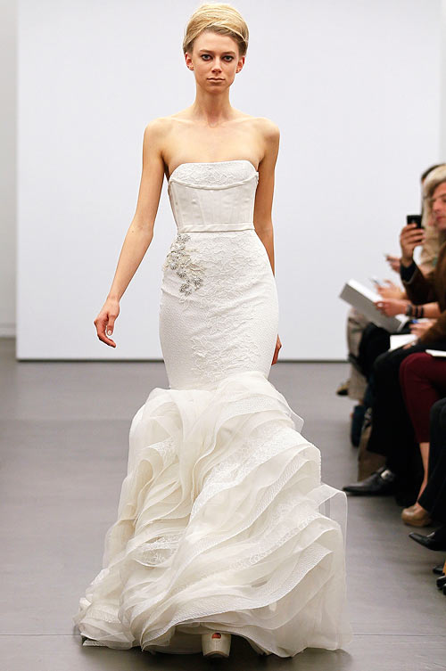 A Vera Wang creation,  showcased at the Vera Wang 2013 Bridal Collection show on October 12, 2012 in New York City