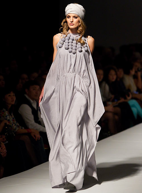 A Saltanat Baymukhamedova creation, showcased during Kazakhstan Fashion Week in Almaty, October 26, 2012