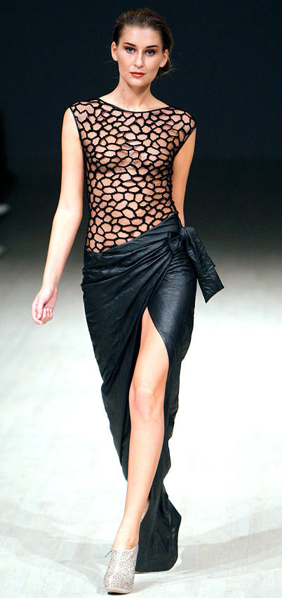 A Ludmila Kislenko creation, showcased at the Ukrainian Fashion Week in Kiev, October 12, 2012