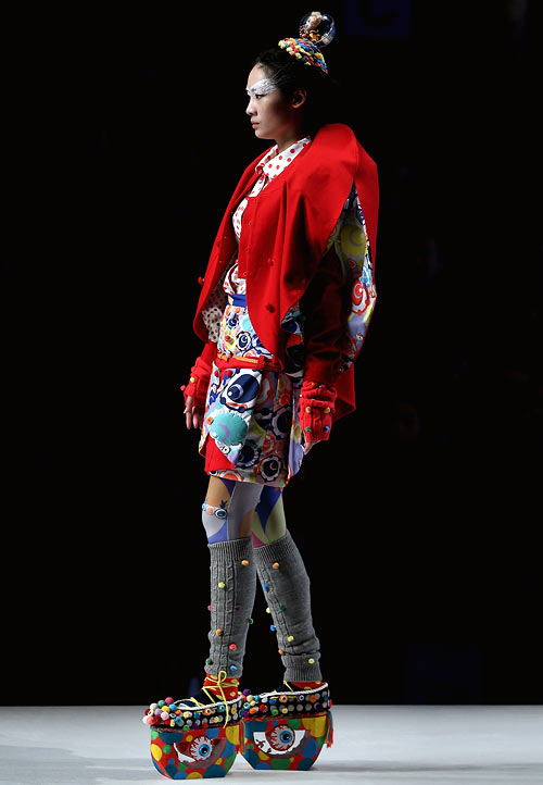 A Koradior Fang Ying creation, showcased at China Fashion Week (Spring/Summer 2013) on October 29, 2012 in Beijing, China