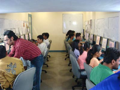 Students being trained at an animation institute.