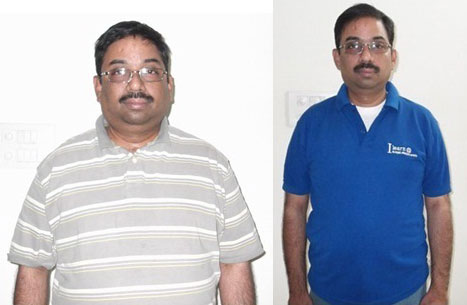 T R Sriniwas before and (right) after his weight loss