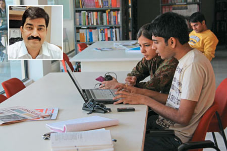 A student undergoing online training and (inset) Navneet Vats