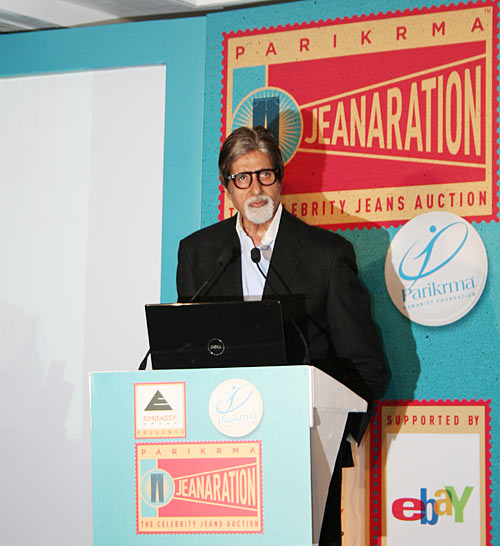 Amitabh Bachchan speaks at the Parikrama 'Jeanaration' charity event in Mumbai on September 1