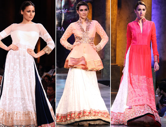 (L-R) Shruti Agarwal, Kriti Sanon and Alesia Raut for Manish Malhotra