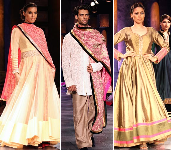 (L-R) Deepti Gujral, Gaurav Arora and Shruti Agarwal for Manish Malhotra