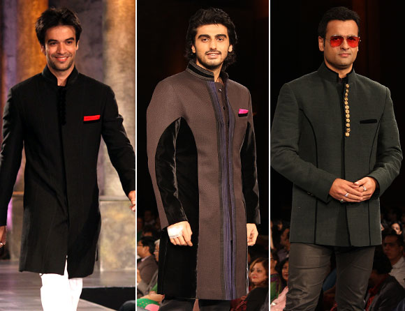 (L-R) Punit Malhotra, Arjun Kapoor and Rohit Roy for Manish Malhotra