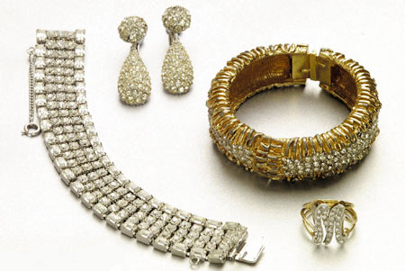 A handout photograph of a selection of costume jewellery worn by the former US movie icon Marilyn Monroe