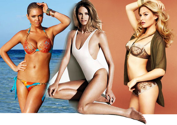 (L-R) Kate Upton, Elle Macpherson and Bar Refaeli