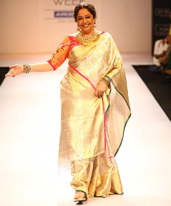 Kirron Kher was the showstopper for Gaurang at the recently concluded Lakme Fashion Week in Mumbai.