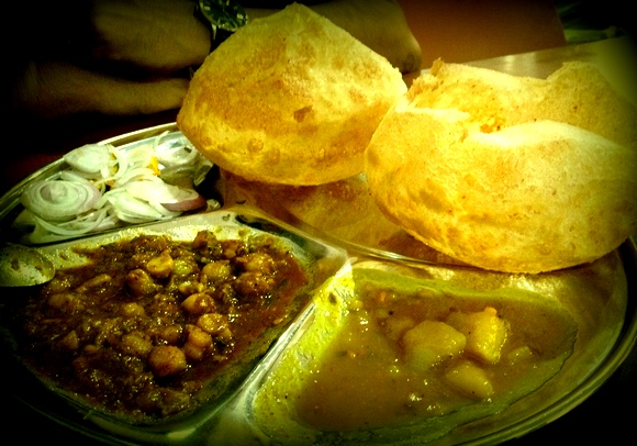 The standard breakfast of Puri Thali at Kanha in Amritsar