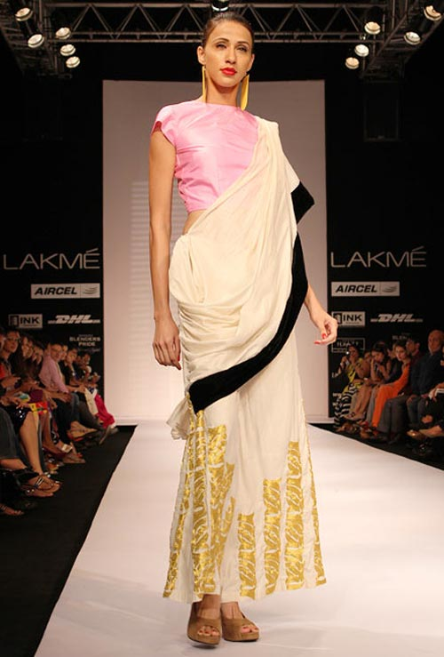Model Alecia Raut showcasing a Masaba Gupta line