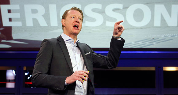 Ericsson's President and CEO Hans Vestberg gestures during a news conference at the Mobile World Congress at Barcelona, February 25, 2013.