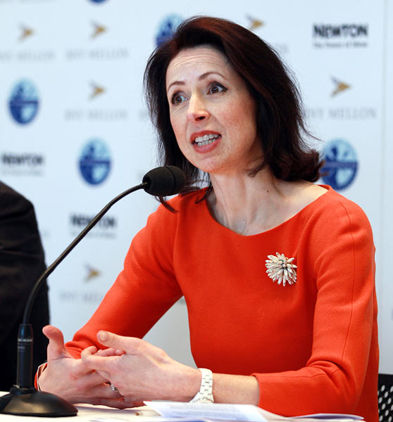 Helena Morrissey, CEO of Newton Investment Management talks to the media during a Oxford v Cambridge University Boat Race announcement at Somerset House on February 8, 2012 in London, United Kingdom.